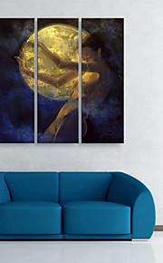 e-FOYER toile tendue art lune femme peinture décorative ensemble de trois