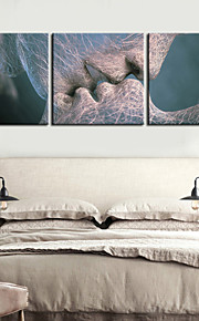 e-FOYER toile tendue art baiser peinture décorative ensemble de trois