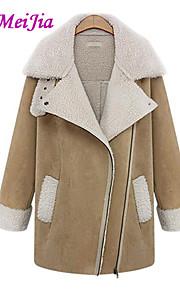 WeiMeiJia® Women's Casual Lapel Thick Long Sleeve Long Coat (Fleece)