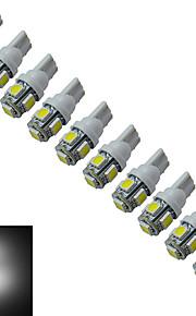 10pcs t10 1w 5x5050smd 70-90LM 6000-6500k bianco freddo ha condotto la luce auto (12V DC)