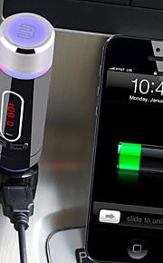 bluetooth handsfree carkit met sigarettenaansteker, bluetooth 3.0 / fm-zender / dual usb-poort voor auto-oplader / mp3-speler