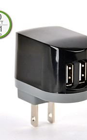 UL Certified Dual USB Wall Charger, 5V 2.1A output, US Plug Face, for iPhone 5/5s/5c iPhone 6/Plus iPad 2/3/4/mini/Air