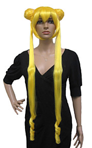Angelaicos Women Sailor Moon Serena Tsukino Long Brown Gray Yellow Lady Anime Halloween Costume Cosplay Full Wig