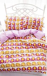 남자와 여자 중국을위한 mingjie® 만화 아기 코끼리 노란색과 분홍색 여왕과 트윈 사이즈 샌딩 침구 세트 4 개