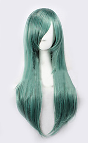 Angelaicos Womens Kagerou Project Kido Tsubomi Long Straight Green Halloween Costume Party Cosplay Full Wig
