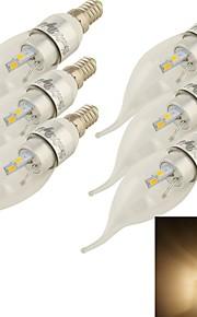 6 stk. YouOKLight E14 3 W 6 SMD 5730 240 LM Varm hvit Dekorativ Lysestakepære AC 85-265 V