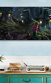 e-FOYER étiré conduit impression sur toile art petite fille dans la forêt Le voyant clignote impression de fibre optique