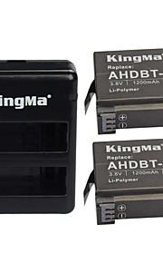Kingma kit4001 2 x 1200mAh accu + 2-slot acculader ingesteld voor GoPro hero 4 / ahdbt-401 - zwart