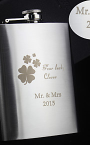 Personalized Stainless Steel Hip Flasks 8-oz Four Clover  Flask