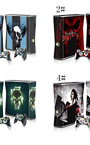 beschermende vinyl skin sticker dekking voor Microsoft Xbox 360 Slim + 2 controller skins sticker skins