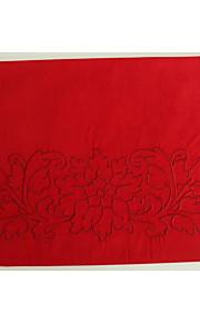 """navidad mesa de mantel individual de 13 """"x18"""" mantel bordado rojo"""