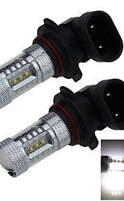 2X 16 CREE SMD LED 9005 Bulb Non-polar White Fog Light Lamp 80W AC/DC 12V/24V HB3 P20d H264