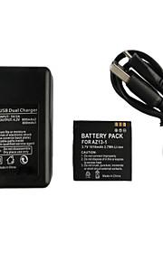 az13-1 3.7v 1010mah camera batterij + usb dubbele batterijlader voor Xiaomi Xiaoyi sport camera