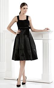 Cocktail Party Dress - Black A-line Straps Knee-length Velvet
