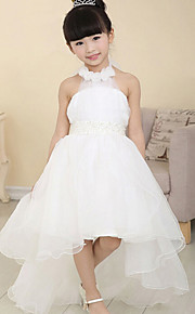 A-Lijn Asymmetrisch Bloemenmeisje jurk - Katoen/Organza Mouwloos