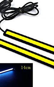 10stk hry® 14cm 600-700lm kørelys is-blå farve lys cob DRL vandtæt dagslys (12v)