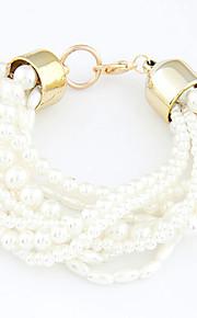 Pulseras y Brazaletes Hilo Aleación Perla artificial De mujeres