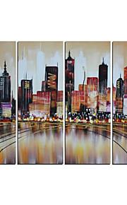 håndmalt abstrakt moderne brun bybildet oljemaleri på lerret 4pcs / set (uten ramme)