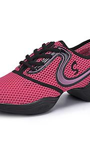 Non Customizable Women's Dance Shoes Jazz/Dance Sneakers/Modern Leatherette Chunky Heel Black/Yellow/Pink