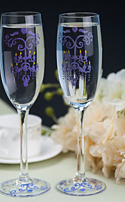 Color Hand-painted Toasting Flutes (Set of 2)---- Purple Chandelier