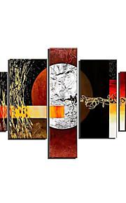 håndmalte art vegg dekor stor teksturert oljemaleri på lerret 5pcs / set (uten ramme)