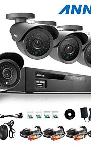 annke® 8ch ahd-l 960H dvr ecloud hdmi 1080p / VGA / BNC-uitgang 4 stuks 900tvl cmos 42leds dag / nacht ir-cut camera IP66