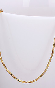 Simple Snake Shape Yellow Gold Plated  Alloy 4M Chain Necklace(Gold,Rose Gold,White Gold)(1Pc)