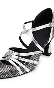 Non Customizable Women's Dance Shoes Salsa Flocking Flared Heel Silver