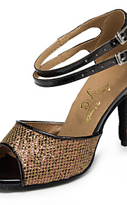 Non Customizable Women's Dance Shoes Salsa Flocking Stiletto Heel Brown
