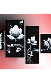 dipinto a mano la pittura a olio fiore astratto su tela di canapa 4pcs / set senza cornice