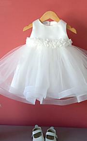 Vestido para Meninas das Flores - Baile Comprimento Médio Sem Mangas Tule / Algodão / Poliéster