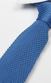 Men Sky Blue Knitted Tie Flat Leisure Narrow Adult Necktie
