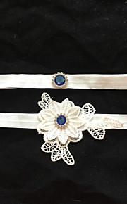 Garter Stretch Satin Flower/Rhinestone White