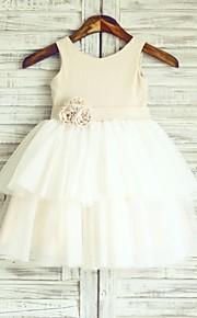 Vestido para Meninas das Flores - Princesa Coquetel Sem Mangas Linho/Tule