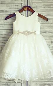 Vestido para Meninas das Flores - Princesa Coquetel Sem Mangas Renda/Cetim