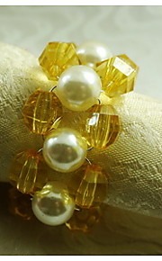 perla con anillo de la mano de acrílico servilleta de punto, acrílico, 1.77inch, juego de 12