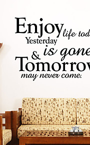 Wall Stickers Wall Decals Style Enjoy Life Today English Words & Quotes PVC Wall Stickers