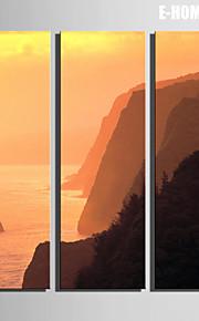 e-Home® sträckta canvas art berg vid floden dekorativt måleri uppsättning av 3