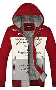Jacke ( Schwarz/Rot , Baumwolle ) - für Freizeit - für MEN Lang