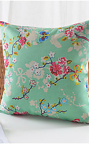 Summer Flowers Pattern Cotton/Linen Decorative Pillow Cover