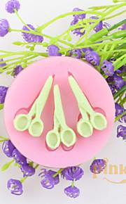 три пары ножниц помадной торт шоколадный силиконовые формы, формы для выпечки украшения инструменты