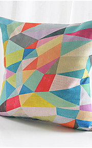 Colorful Geometric Cotton/Linen Decorative Pillow Cover