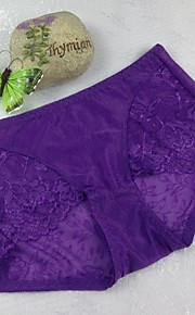 Women's Sexy Ice Silk Cotton Lace-carving Panty Briefs