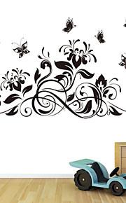 estilo decalques adesivos de parede parede parede borboleta preta flor adesivos pvc