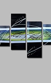 met de hand geschilderd olieverf op doek kunst aan de muur abstracte hedendaagse zwart wit vier panel klaar te hangen