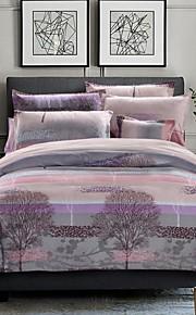 elegante conjunto de cama azul da árvore de 4pcs tecido lixa grossa para o Outono&temporadas de Inverno uso