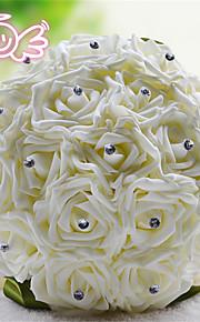 Rhinestone Round Roses Bouquets Wedding Flowers