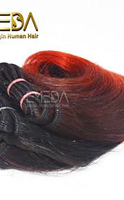 новые 3шт / набор Ombre человека девственные короткие волосы ткать мокрый волнистые Ombre 2 тон цвет # 1B / красные 8inch 6 цветов