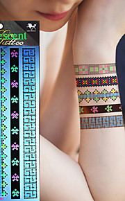 5Pcs New Style Fluorescence Tattoo Stickers Luminous Metal Tatoo Waterproof Temporary Tattoos