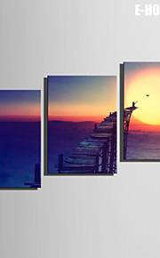 E-Home® Leinwand bist der untergehenden Sonne Dekoration Malerei Set von 3